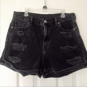 American Eagle Black Ripped Mom Jean Shorts